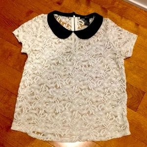 Embroidered offwhite see-through Small top